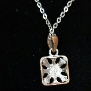 Jewelry - Faux Diamond Bronze Pendant and Necklace